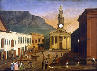 St. George's Cathedral, Cape Town - St. George's Cathedral and St. George's Street in by Wilhelm Langschmidt (1845)