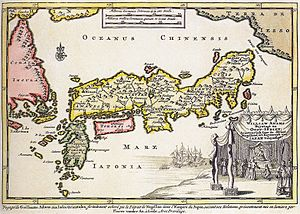 William Adams (sailor) - 1707 map of Japan, with a cartouche representing the audience of William Adams with the Shogun. From Naaukeurige Versameling der Gedenk-Waardigste Zee en Land-Reysen (a series of accounts of famous land- and sea-voyages). Thought to be by Pieter van der Aa.