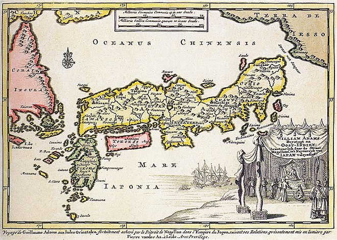 1707 map of Japan, with a cartouche representing the audience of William Adams with the shogun. From Naaukeurige Versameling der Gedenk-Waardigste Zee en Land-Reysen (a series of accounts of famous land- and sea-voyages). Thought to be by Pieter van der Aa. William Adams 1707 map of Japan.jpg