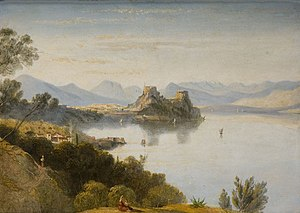 William Linton (artist) - Albanian Mountains with Corfu in Distance. 1830s