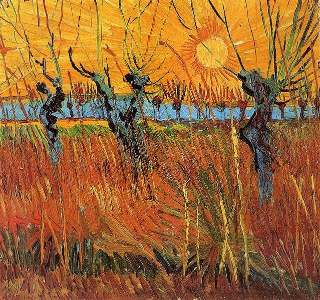 Vicent van Gogh: Sauces al atardecer (1888).