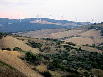Ripacandida - Windmills in fields surrounding Ripacandida, Italy
