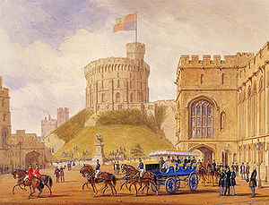 Charabanc - A horse-drawn charabanc at Windsor Castle in 1844.