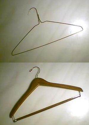 Clothes hanger - Wire (top) and wooden (bottom) clothes hangers