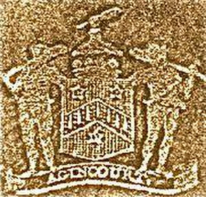 Wodehouse (surname) - The family coat of arms as shown on a stamp used by  John Wodehouse, 1st Earl of Kimberley (1826–1902); Sable a chevron or goutty de sang between three cinquefoils