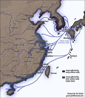 "Haijin - A map of ""dwarf pirate"" raiding, 14th–16th centuries. The early pirates were mostly based on outlying Japanese islands but targeted the Japanese as well as Korea and Ming China. The later ones were mostly Chinese dispossessed by Ming policy."