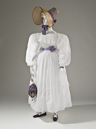 Handbag - Women's fashion from 1830, including a reticule handbag from France.