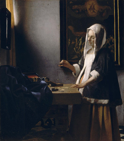 Archivo: Mujer que sostiene una balanza (Vermeer) jpg.
