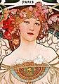 """Woman and """"Paris"""" detail, Alfons Mucha - F. Champenois Imprimeur-Éditeur (cropped).jpg"""