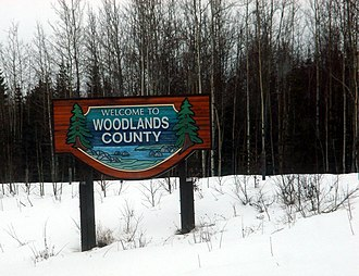 Woodlands County - Welcome sign
