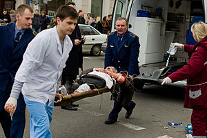 2011 Minsk Metro bombing - A wounded victim being evacuated