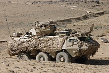 Estonian armoured car in desert camouflage Afghanistan
