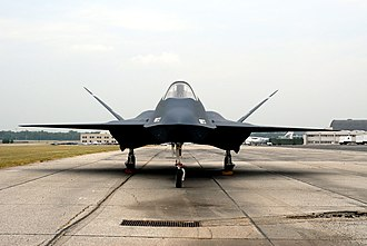 Northrop YF-23 - A front view of 87–0800 showing the curving exterior of the design.