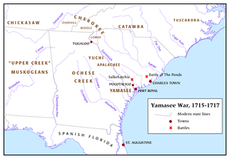 Yamasee War - Overview map of the Yamasee War