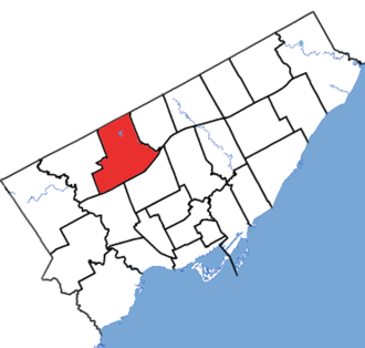 York Centre - York Centre in relation to the other Toronto ridings (2013 boundaries)