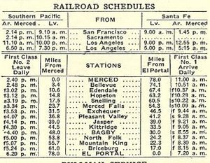 Yosemite Valley Railroad - Railroad schedule for 1915-1916.