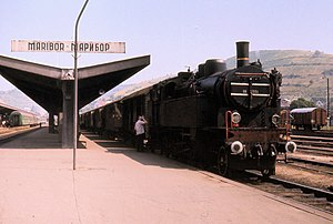 Maribor railway station - Yugoslav Railways (JŽ) Class 18 4-6-2T at Maribor with a train for the Bleiburg line, August 1971