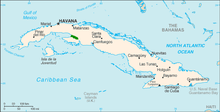 Map of Cuba with Zapata Swamp area shaded