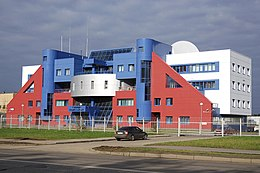 Modernistic building in the colors of the Russian flag