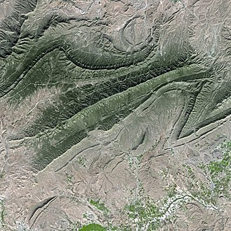 Ouled Naïl Range - Satellite image of the eastern end of the range south of Bou Saâda.