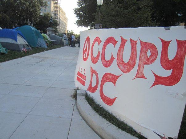 """""""Occupy DC"""" sign and tents from the Occupy Movement in downtown D.C"""