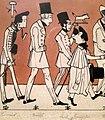 """""""Zug der Düsseldorfer Künstler"""" von 1837, Karikatur seiner malenden Zeitgenossen III, Andreas Achenbach – Ausschnitt Carl Emanuel Conrad, Karl Bennert.jpg"""