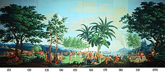 Wallpaper - 'Sauvages de la Mer Pacifique', panels 1-10 of woodblock printed wallpaper designed by Jean-Gabriel Charvet and manufactured by Joseph Dufour