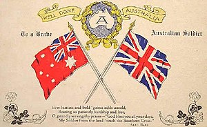 Australian Red Ensign - A 1918 World War I-era Australian postcard congratulating Australia on winning the war. Includes Union Jack and Australian Red Ensign.