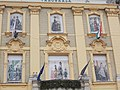 Óbuda Town Hall, balcony, dress illustrations, 2016 Budapest.jpg