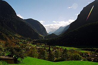 Ötztal - Ötztal valley in Tirol, Austria, looking south from the town of Oetz