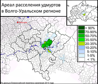 Udmurt people - Udmurt resettlement area in the Volga-Ural region (data based on the National Population Census 2010)