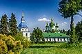 Комплекс споруд Видубицького монастиря, дзвіниця та Георгіївський собор, вид з ботанічного саду.jpg