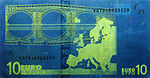 10 euro note under UV light (Reverse)