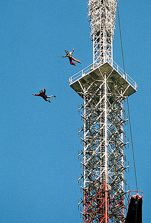 BASE jumping - BASE jumping from an antenna tower