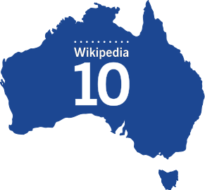 Wikipedia 10 years - Australia logo blue