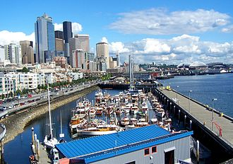 Central Waterfront, Seattle - Looking southeast along the Central Waterfront from the Bell Street Terminal (2006).