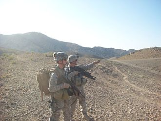 107th Engineer Battalion - Specialist Avramenko and Sergeant Rose of Alpha Company, 107th  Engineer Battalion, deployed as part of the 168th Engineer Brigade, scan for possible IED trigger points while conducting a dismounted patrol near Yakubi, Afghanistan, circa 2009.
