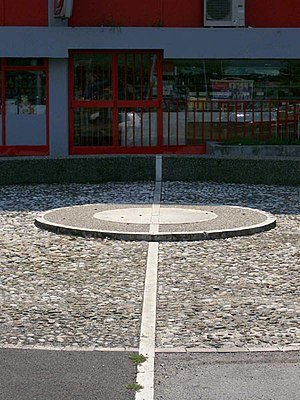 16th meridian east - Monument marking the meridian in Zagreb, Croatia