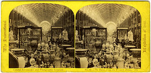 1862 International Exhibition - The nave from the Western Dome.   A stereoscopic view of the 1862 International Exhibition interior pub-  lished by the London Stereoscopic Company