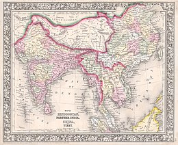 1864 Mitchell Map of India, Tibet, China and Southeast Asia - Geographicus - India-mitchell-1864.jpg