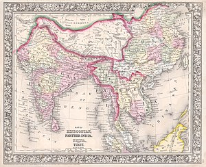 Tibetan sovereignty debate - Image: 1864 Mitchell Map of India, Tibet, China and Southeast Asia Geographicus India mitchell 1864