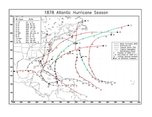 1878 Atlantic hurricane season - Image: 1878 Atlantic hurricane season map