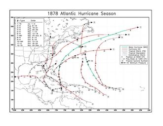 1878 Atlantic hurricane season - Image: 1878 Atlantic hurricane season map