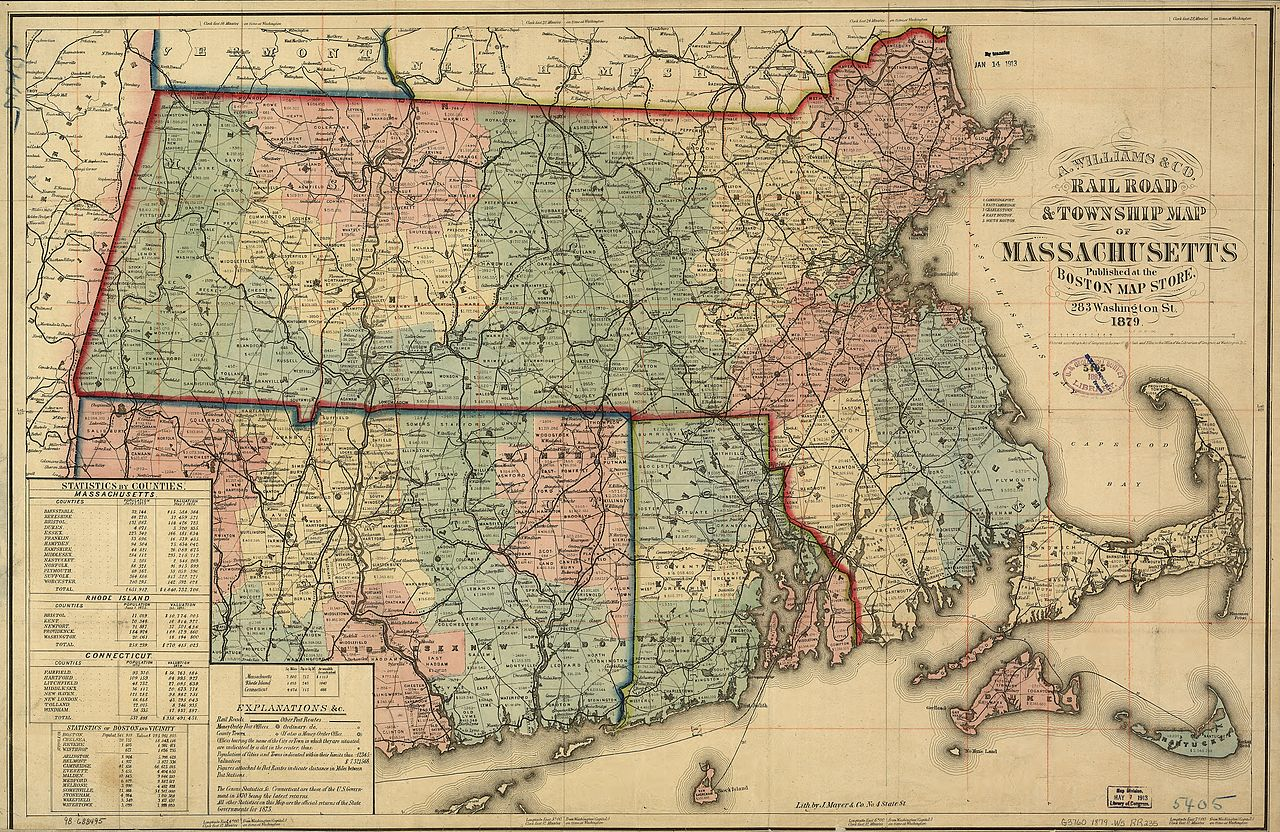 Railroads and Townships of Massachusetts, A. Williams & Co., Boston, 1879.