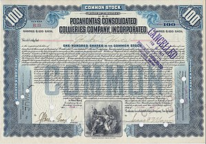 Pocahontas Coalfield - 1907 Pocahontas Consolidated Stock Certificate