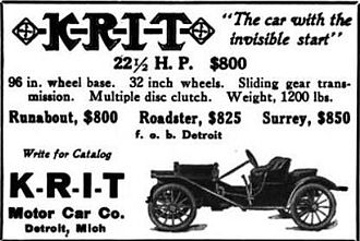 Brass Era car - A 1911 K-R-I-T advertisement