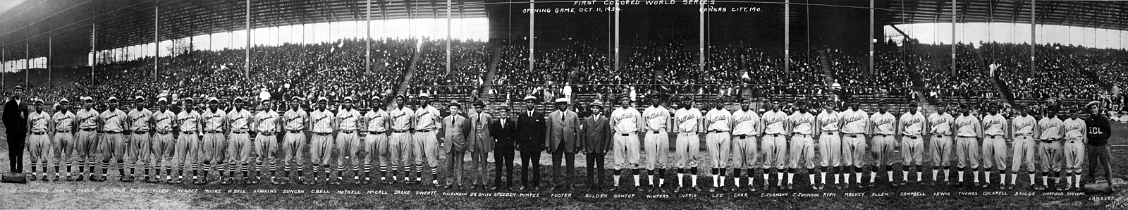 The two opposing teams line up at the 1924 Colored World Series 1924 Negro League World Series.jpg