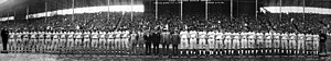 Negro World Series - The two opposing teams line up at the 1924 series.
