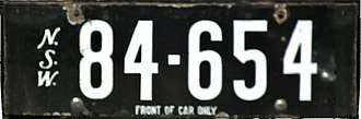 Vehicle registration plates of New South Wales - Early NSW registration plate