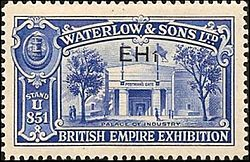 A promotional stamp produced in 1925 by Waterlow and Sons for the British Empire Exhibition